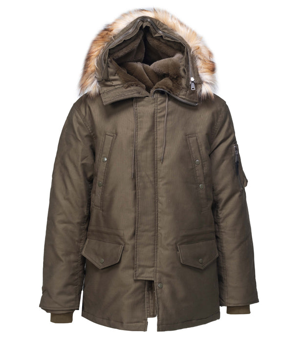 Schott NYC Men's Bedford Cord Down Parka 8729D in Olive at Dave's New York