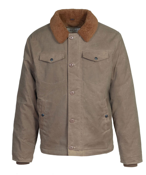 Schott NYC Men's Waxed Cotton Deck Jacket in Khaki at Dave's New York