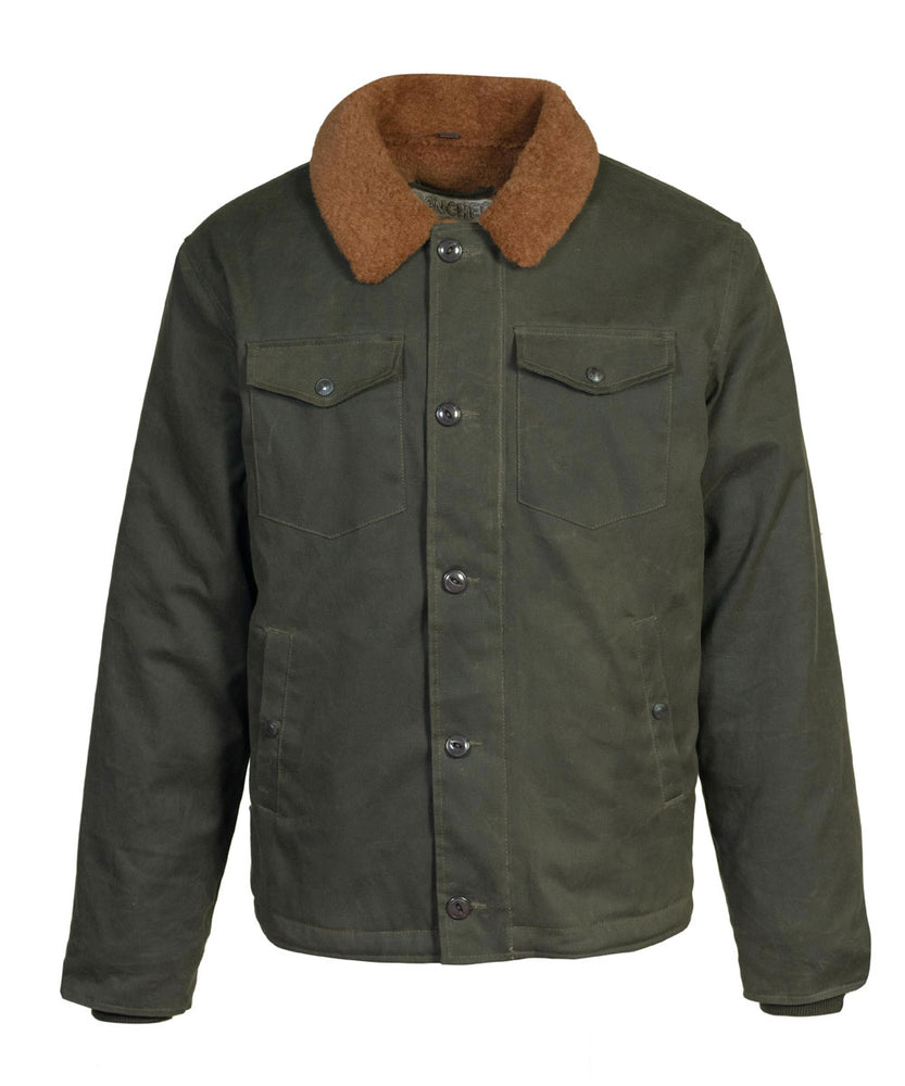 Schott NYC Men's Waxed Cotton Deck Jacket in Olive at Dave's New York