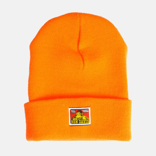 Ben Davis Classic Logo Knit Beanie in Bright Orange at Dave's New York