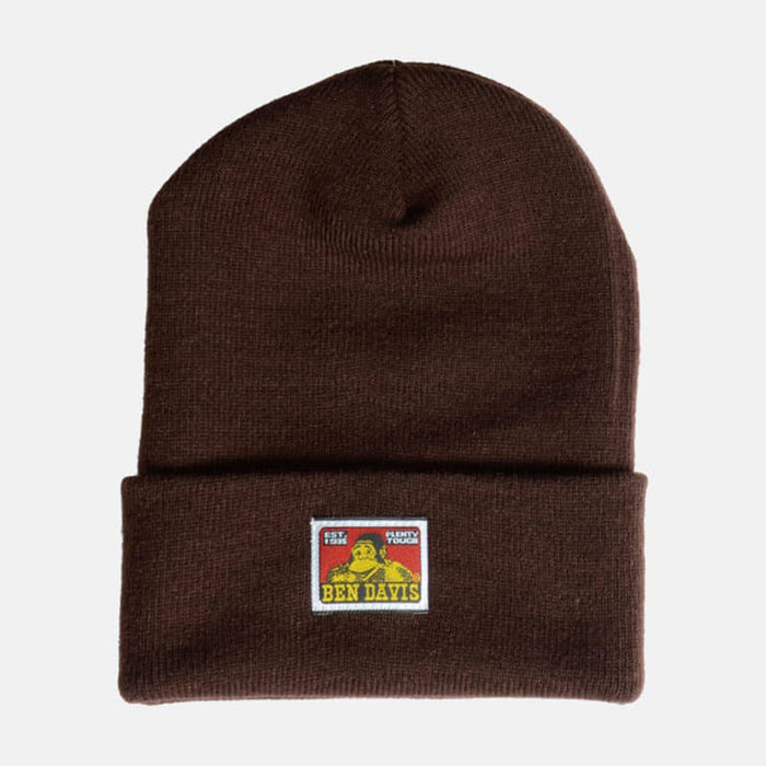 Ben Davis Classic Logo Knit Beanie in Dark Brown at Dave's New York