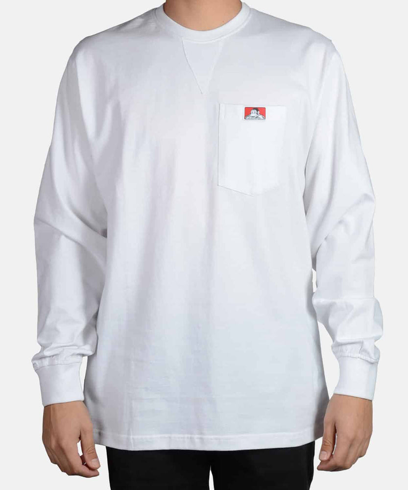 Ben Davis Heavy Duty Long Sleeve Pocket T-Shirt in White at Dave's New York