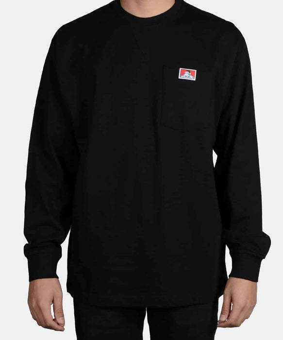 Ben Davis Heavy Duty Long Sleeve Pocket T-Shirt - Black