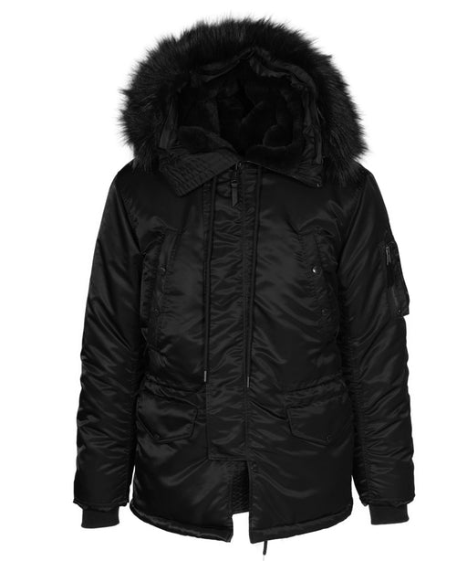 Schott Men's N-3B Parka 9838 in Black at Dave's New York