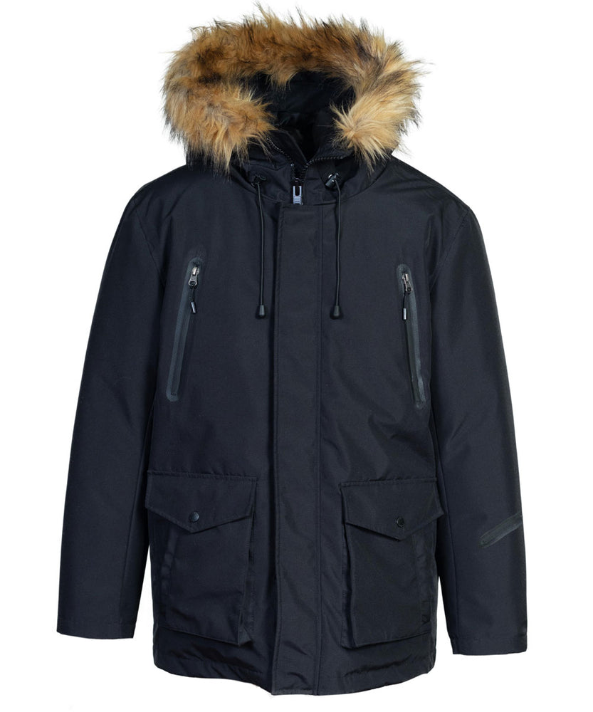 Schott NYC Men's Nylon Down-Filled Hooded Parka in Black at Dave's New York