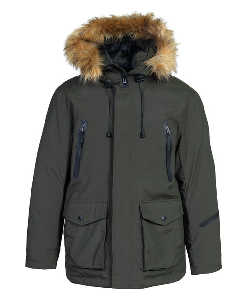 Schott NYC Men's Nylon Down-Filled Hooded Parka in Olive at Dave's New York