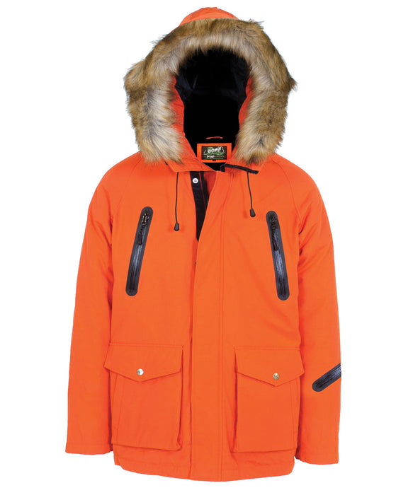 Schott NYC Men's Nylon Down-Filled Hooded Parka in Orange at Dave's New York