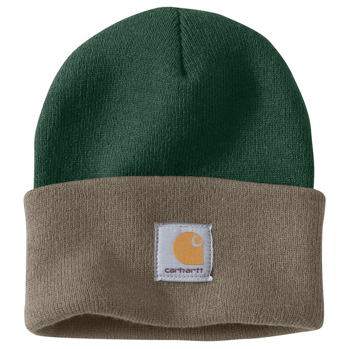 Carhartt A18 Acrylic Knit Watch Hat - Dark Green/Driftwood