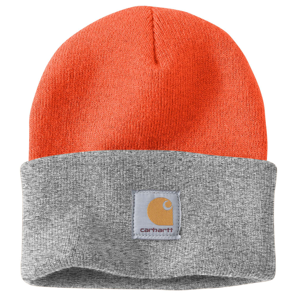 Carhartt A18 Acrylic Knit Watch Hat - Bright Orange/Heather Grey