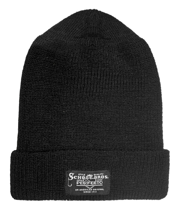 Schott NYC Wool Watch Cap - Black Beanie at Dave's New York