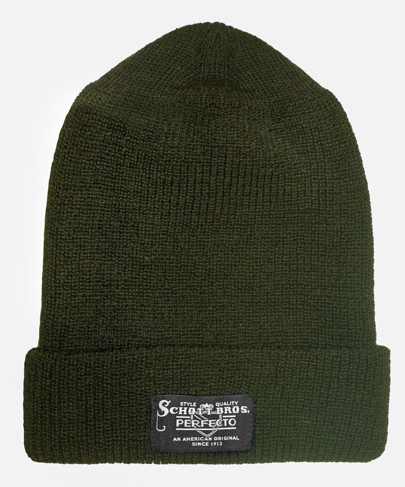 Schott NYC Wool Watch Cap - Olive Green Beanie at Dave's New York