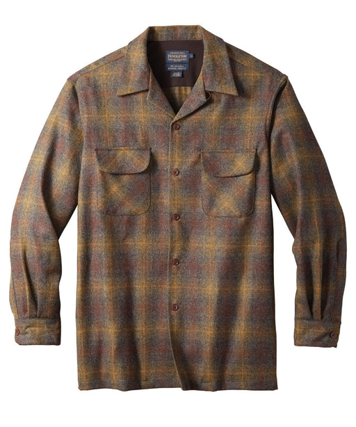 Pendleton Men's Classic Fit Wool Board Shirt – Bronze/Oxford Ombre