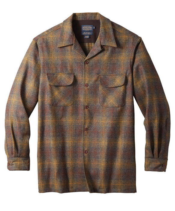 Pendleton Men's Classic Fit Wool Board Shirt in Bronze/Oxford Ombre at Dave's New York