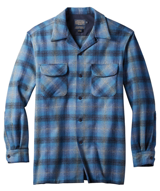Pendleton Men's Classic Fit Wool Board Shirt – Blue Multi Ombre