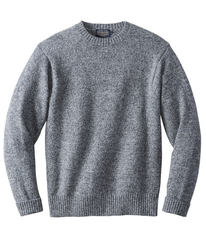 Pendleton Men's Shetland Crew Neck Sweater in Pepper Marl at Dave's New York