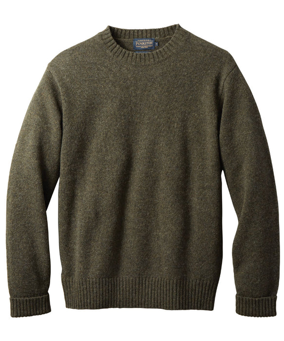 Pendleton Men's Shetland Crew Neck Sweater in Dark Army Green at Dave's New York
