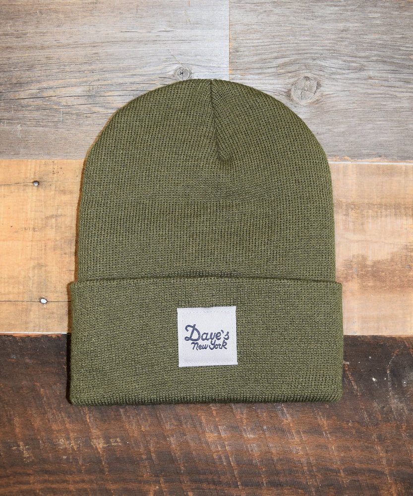 Dave's New York Vintage Logo Beanie - Army Green