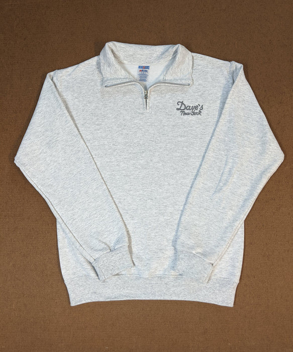 Dave's New York Men's Vintage Logo Half-Zip Sweatshirt - Ash Grey