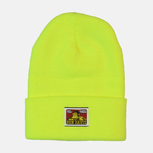 Ben Davis Logo Knit Beanie in Bright Yellow at Dave's New York