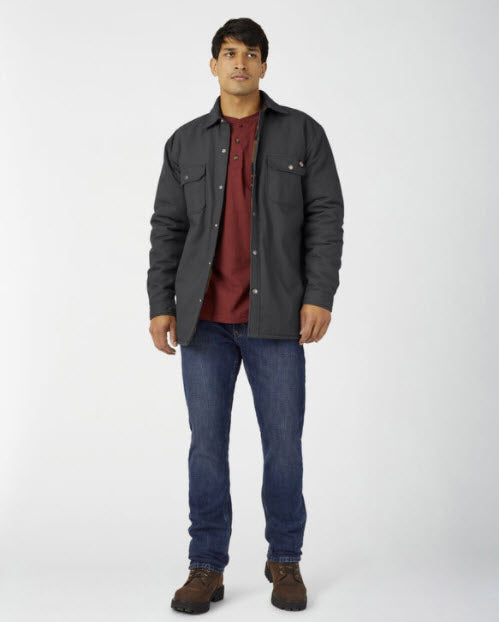Dickies Men's Flannel Lined Duck Shirt Jacket with Hydroshield in Black at Dave's New York