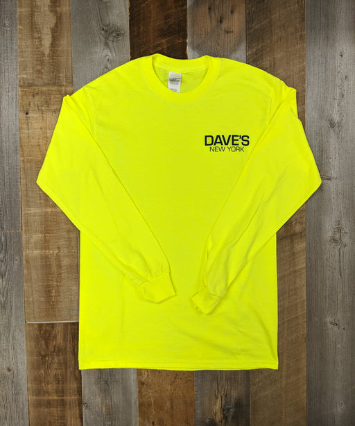 Dave's New York Work Logo Long Sleeve T-Shirt - Bright Lime