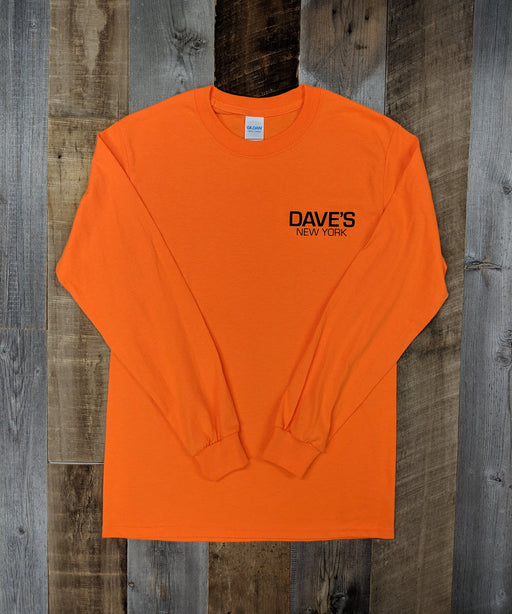 Dave's New York Work Logo Long Sleeve T-Shirt - Bright Orange