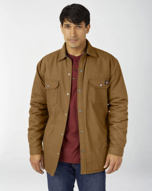 Dickies Men's Flannel Lined Duck Shirt Jacket with Hydroshield in Brown at Dave's New York