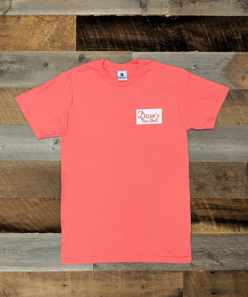 Dave's New York Short Sleeve Vintage Logo Sticker Print T-shirt - Coral