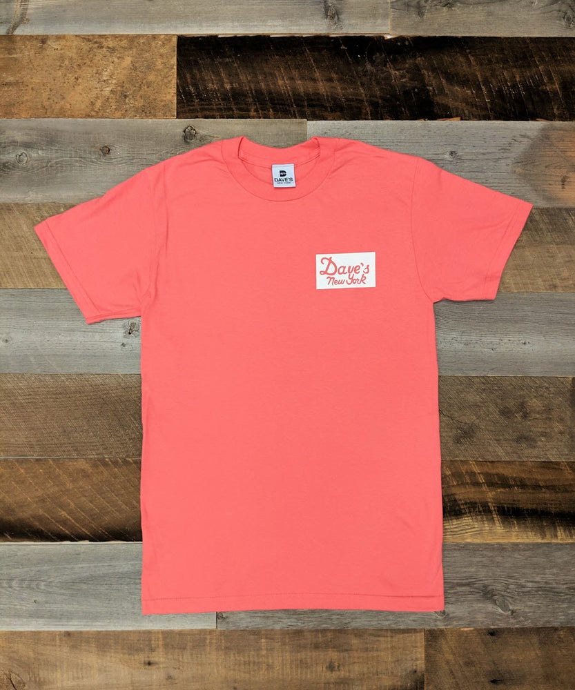 Dave's New York Vintage Logo Sticker Print Short Sleeve T-shirt - Coral