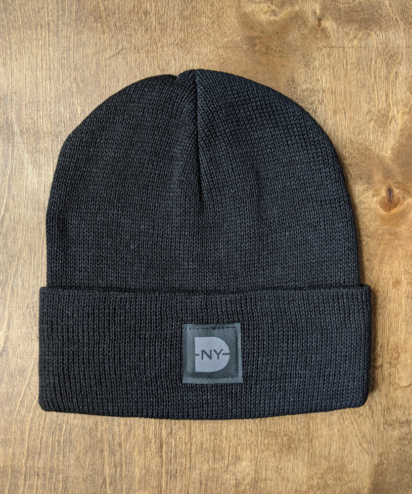 Dave's New York Iconic Logo Cotton Knit Beanie - Black/Black