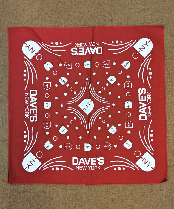 DNY Logo Bandana in Red at Dave's New York