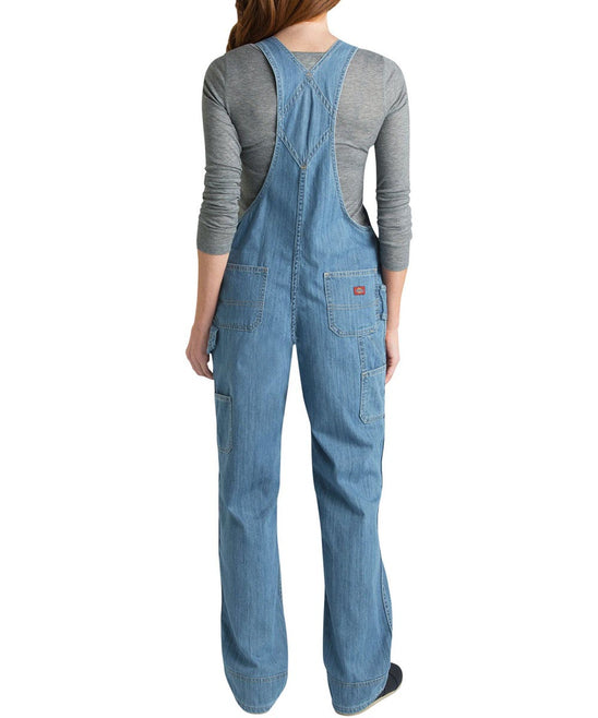 Dickies Women's Relaxed Fit Bib Overalls in Stonewashed Blue at Dave's New York
