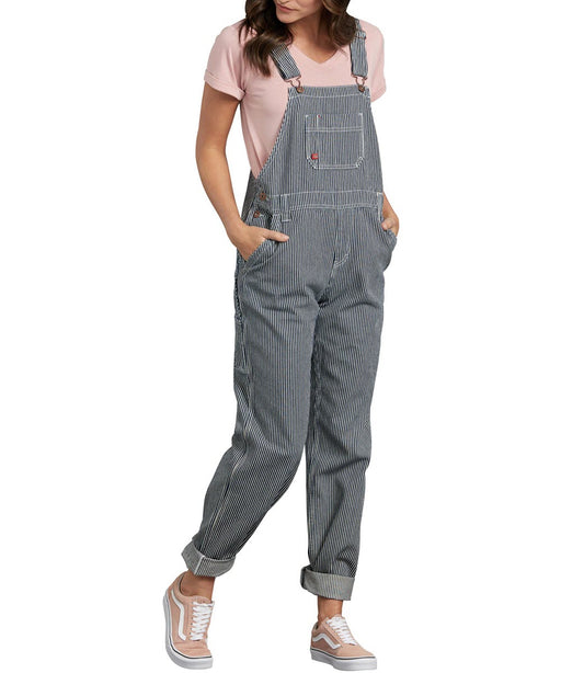 Dickies Women's Relaxed Fit Bib Overalls in Hickory Stripe at Dave's New York