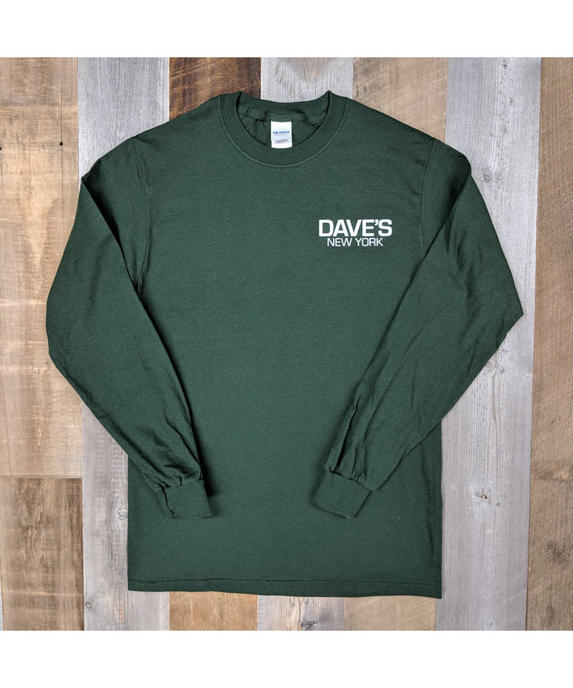Dave's New York Work Logo Long Sleeve T-Shirt - Forest Green