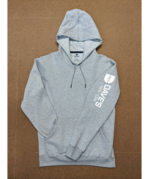 Dave's New York Men's Mid-weight Hooded Logo Sweatshirt - Heather Grey