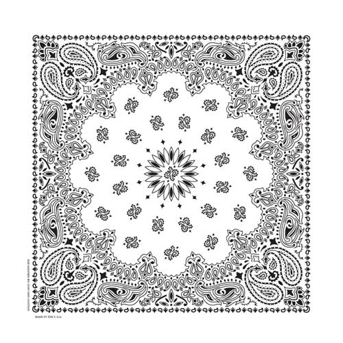 Hav-A-Hank USA Made Paisley Print Bandana - White
