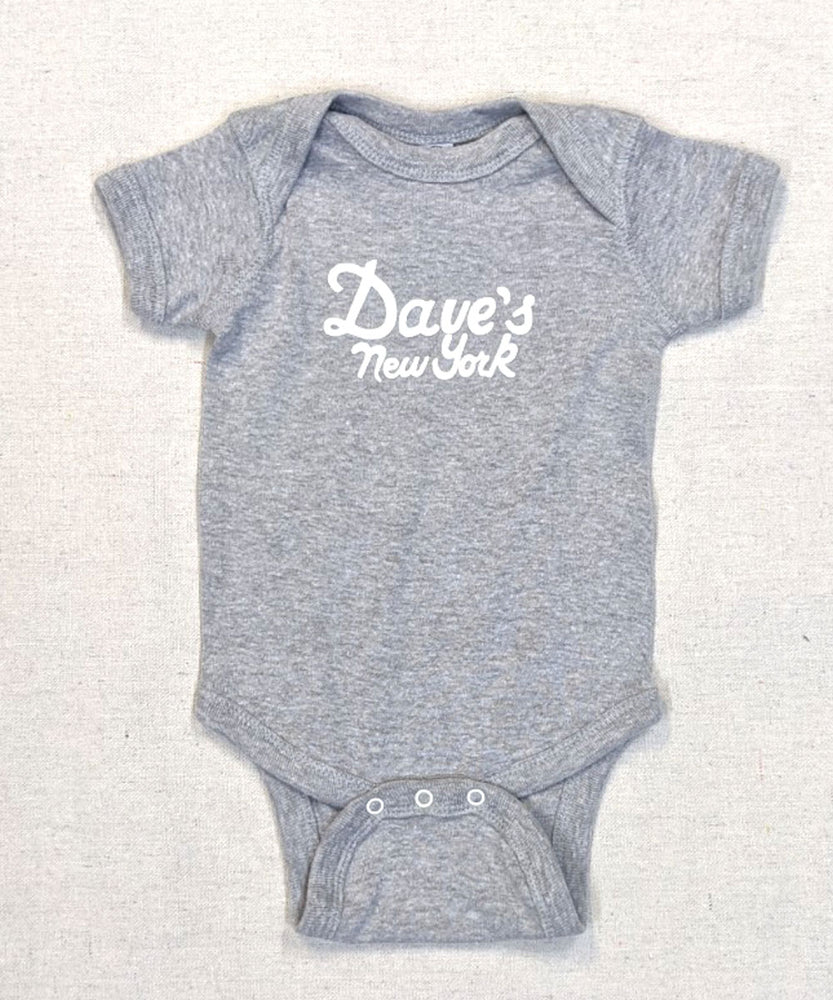 Dave's New York Vintage Logo Short Sleeve Infant Bodysuit - Heather Grey
