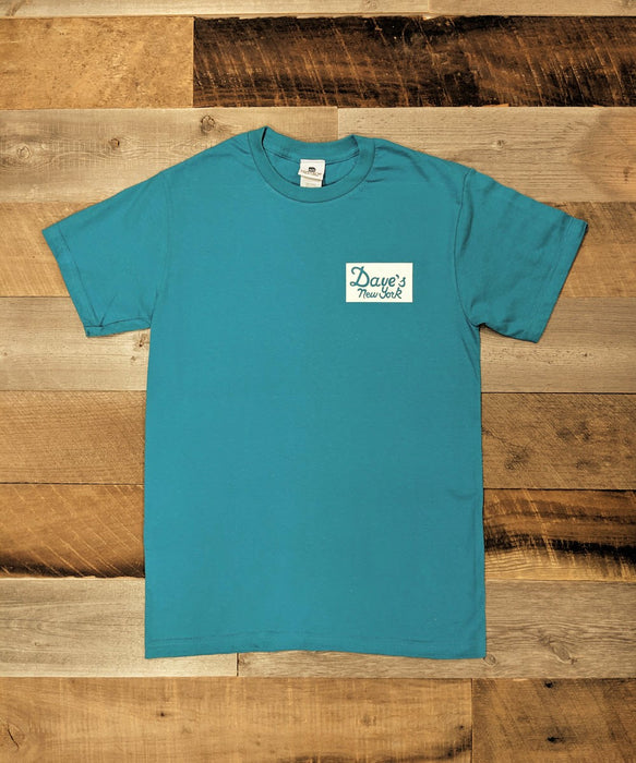 Dave's New York Vintage Logo Sticker Print Short Sleeve T-shirt - Island Blue