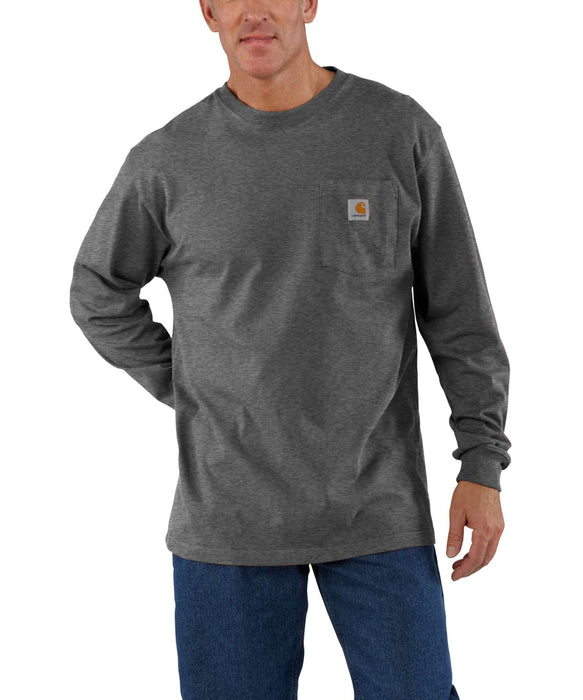 Carhartt K126 Long Sleeve Workwear T-shirt in Carbon Heather at Dave's New York