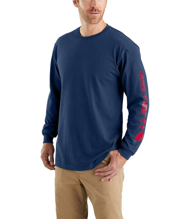 Carhartt Signature Sleeve Logo Long-Sleeve T-Shirt – K231 – Dark Cobalt/Red
