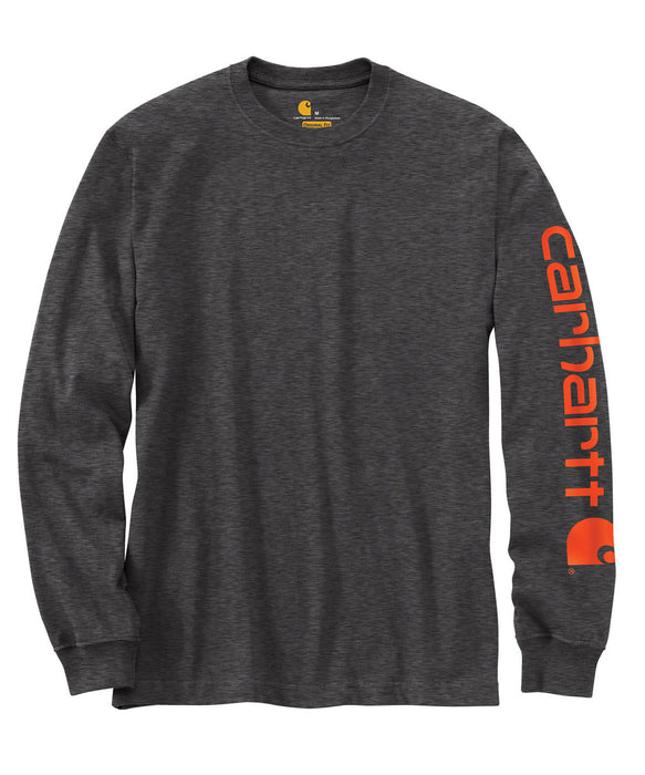 Carhartt Signature Sleeve Logo Long-Sleeve T-Shirt in Carbon Heather at Dave's New York