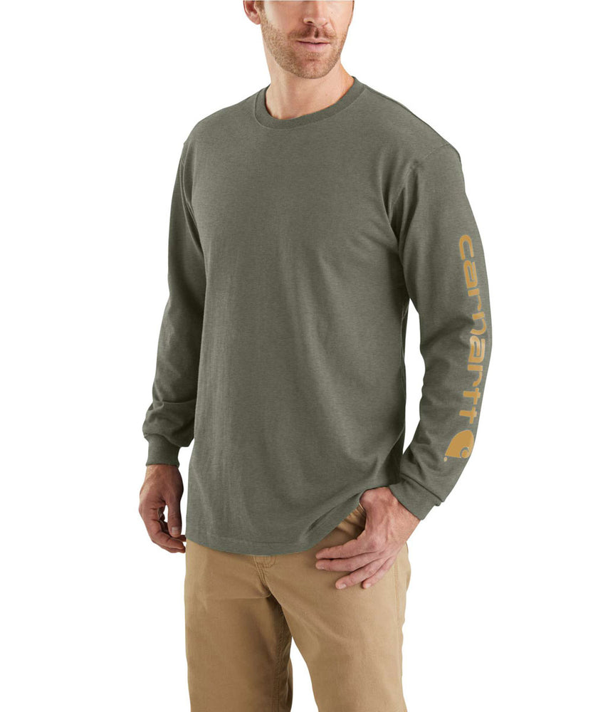 Carhartt Signature Sleeve Logo Long-Sleeve T-Shirt in Winter Moss Heather at Dave's New York