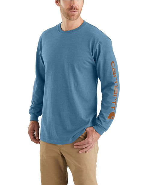 Carhartt Signature Sleeve Logo Long-Sleeve T-Shirt - Ocean Blue Heather