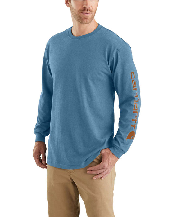 Carhartt Signature Sleeve Logo Long-Sleeve T-Shirt in Ocean Blue Heather at Dave's New York
