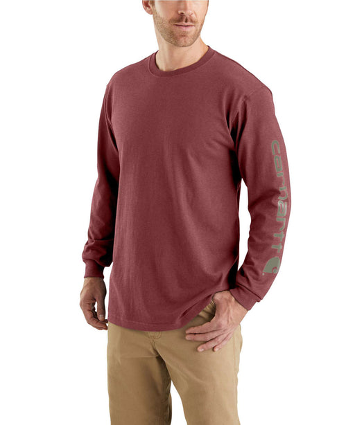 Carhartt Signature Sleeve Logo Long-Sleeve T-Shirt in Iron Ore Heather at Dave's New York
