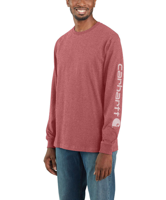 Carhartt Signature Sleeve Logo Long-Sleeve T-Shirt - Blush Pink Heather at Dave's New York