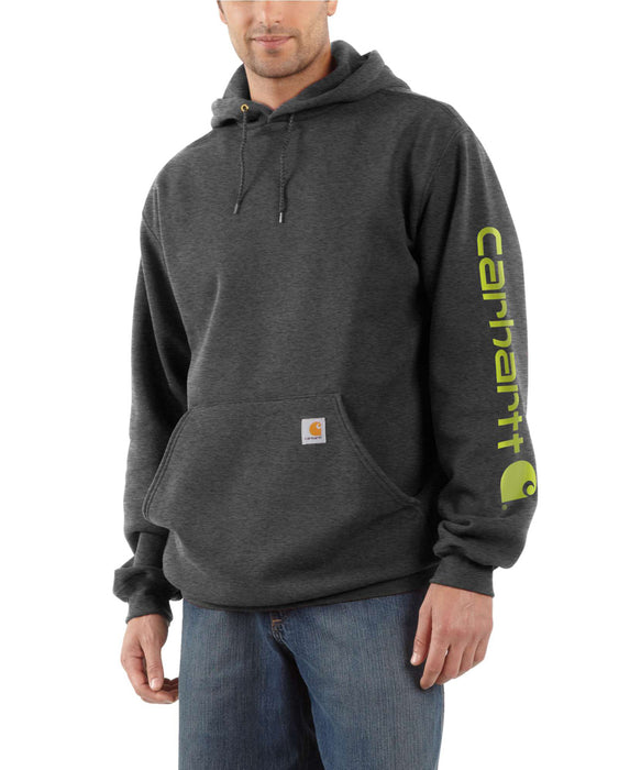 Carhartt Mid-Weight Hooded Logo Sweatshirt K288 in Carbon Heather at Dave's New York