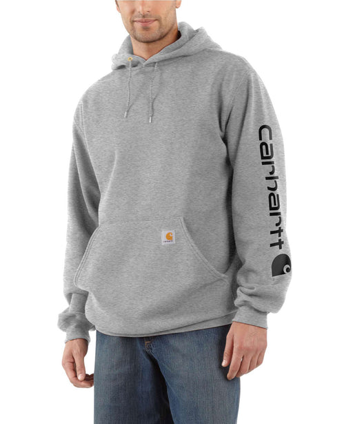 Carhartt Mid-weight Hooded Logo Sweatshirt - Heather Grey/Black at Dave's New York