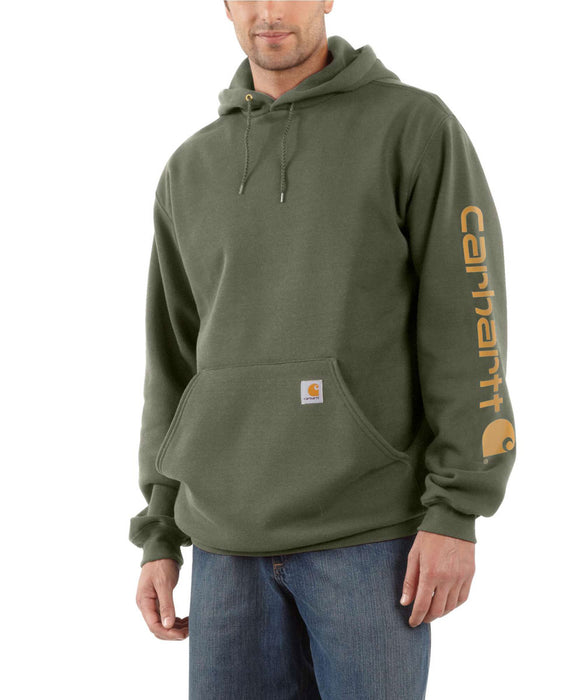 Carhartt Mid-weight Hooded Logo Sweatshirt - Winter Moss Snow Heather at Dave's New York