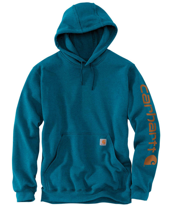 Carhartt Mid-weight Hooded Logo Sweatshirt in Ocean Blue Heather at Dave's New York